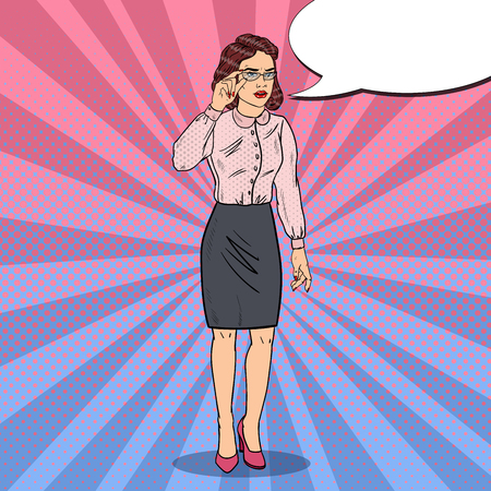 concerned: Pop Art Worried Business Woman. Vector illustration Stock Photo
