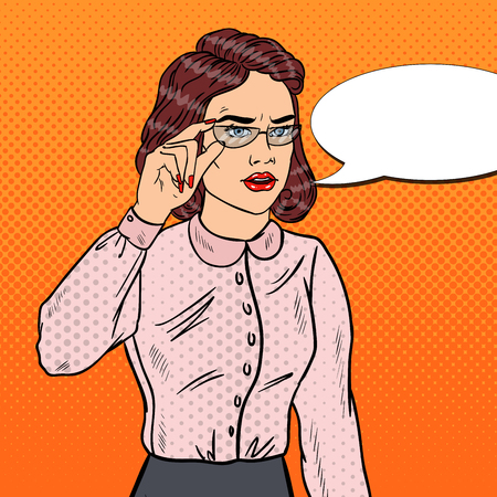 tough woman: Confused Business Woman in Eyeglasses. Pop Art Vector illustration