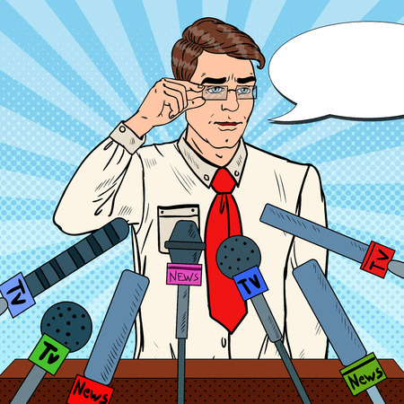 Confident Man Giving Press Conference. Mass Media Interview. Pop Art Vector illustration Stock Photo