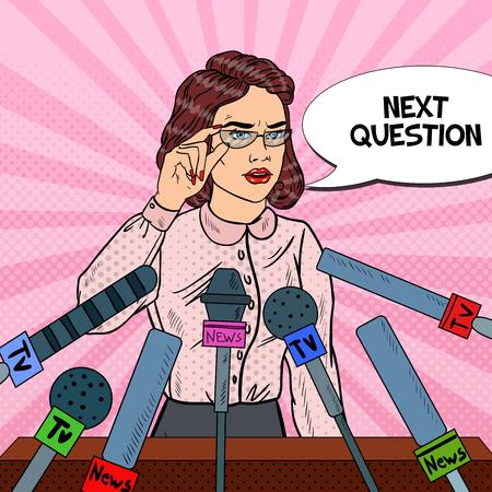 自信を持って女性を与える記者会見。マスメディアのインタビュー。ポップアートのベクトル図