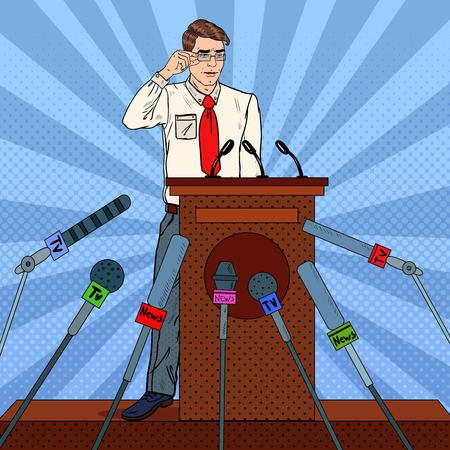 Pop Art Businessman Giving Press Conference. Mass Media Interview. Vector illustration Stock Photo