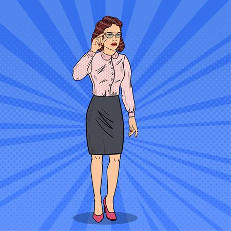 concerned: Pop Art Confused Business Woman. Vector illustration