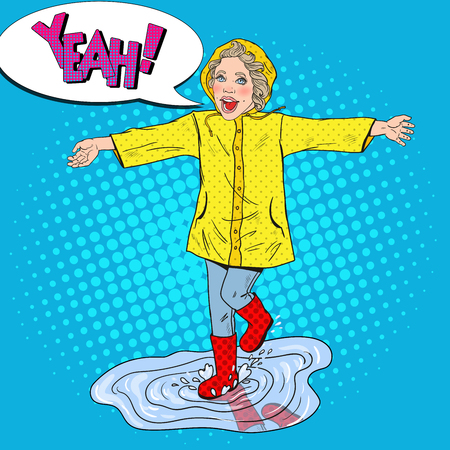 Happy Girl Running in Puddles after Spring Rain. Vector retro illustration