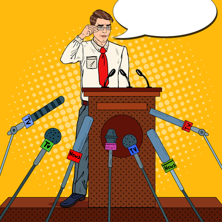 Pop Art Man Giving Press Conference. Mass Media Interview. Vector illustration