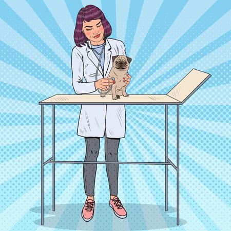 Weiblicher Tierarzt, der Pug-Hund prüft. Tierpflege. Pop Art Vektor-Illustration Standard-Bild - 76229422