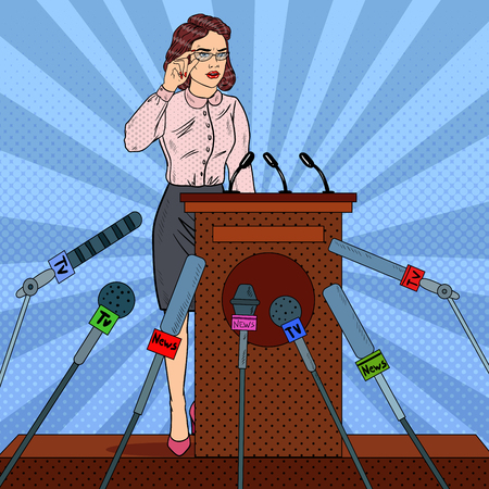 Pop Art Business Woman on Mass Media Interview. Press Conference. Vector illustration