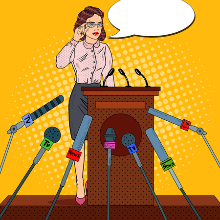 Pop Art Business Woman Giving Press Conference. Mass Media Interview. Vector illustration