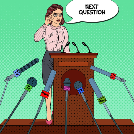 Business Woman Giving Press Conference. Mass Media Interview. Pop Art Vector illustration Illustration