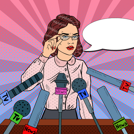 Confident Woman Answering Questions on Press Conference. Mass Media Interview. Pop Art Vector illustration Illustration