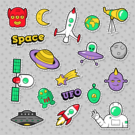 Space, UFO, Robots and Funny Aliens Badges, Stickers and Patches. Vector illustration Çizim