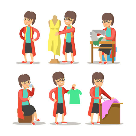 Vrouw Fashion Designer Cartoon. Dressmaker met Mannequin. Vector karakter illustratie