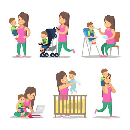 Glückliche Mutter und Sohn Cartoons. Mutterschaft und Erziehung. Vektor Zeichen Illustration Standard-Bild - 76188974