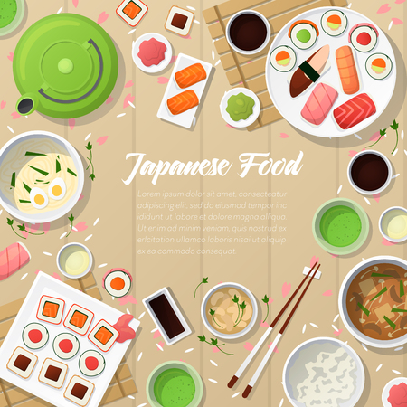 Japanese Cuisine Traditional Food with Sushi and Wasabi. Vector illustration