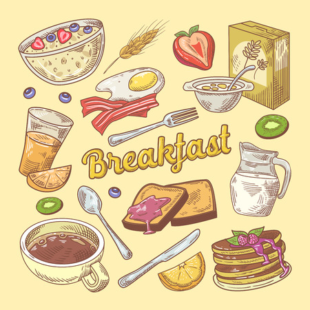 Hand Drawn Breakfast Doodle with Toasts and Pancakes. Healthy Food. Vector illustration
