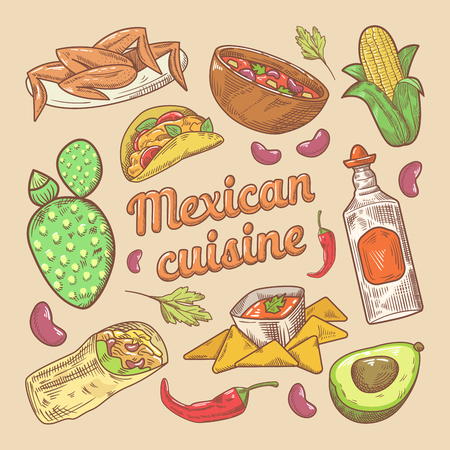 Mexican Cuisine Traditional Food Hand Drawn Doodle with Tacos and Nachos. Vector illustration
