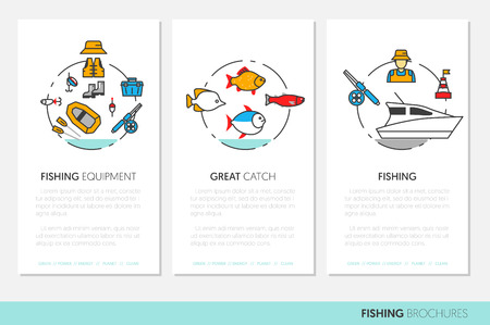Fishing Business Brochure Template with Linear Thin Line Vector Icons