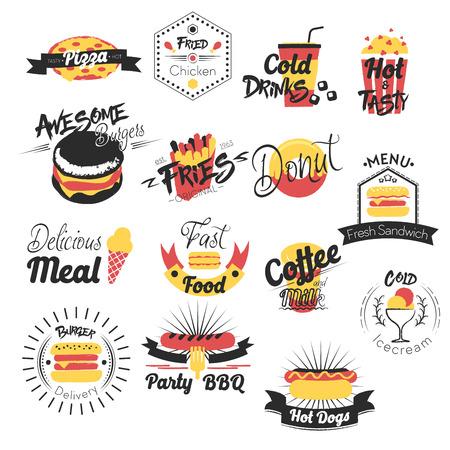 Comida rápida mano dibujado logotipos. Ilustración vectorial Logos