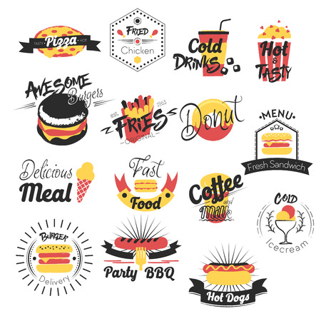 Fast Food Hand Drawn Logos. Vector illustratie Stock Illustratie