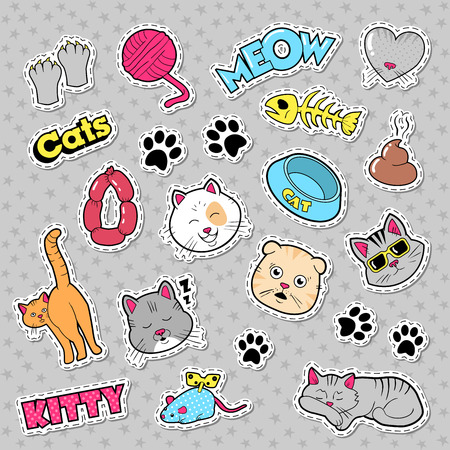 Funny Cats Badges, Patches and Stickers with Fish, Clutches. Vector doodle