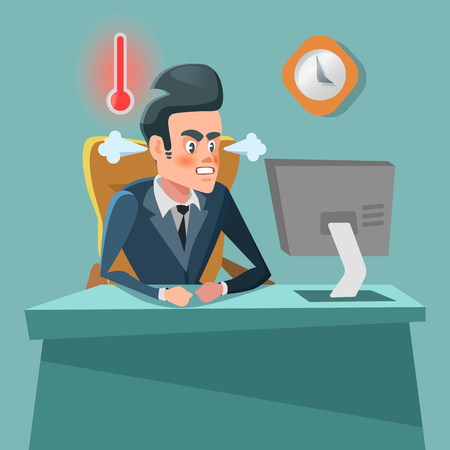 Angry Businessman Cartoon with Computer. Stress at Work. Vector character illustration