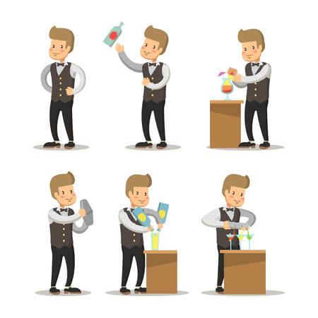 Happy Barista Cartoon. Barman with Cocktails. Vector character illustration