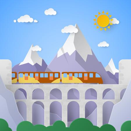 Paysage de montagne avec aqueduc et chemin de fer. Illustration de papier de vecteur