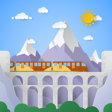 Mountain Landscape with Aqueduct and Railway. Vector paper illustration Illustration