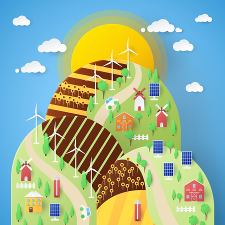 Landscape Eco Technology with Windmills and Solar Battery. Vector paper cut illustration
