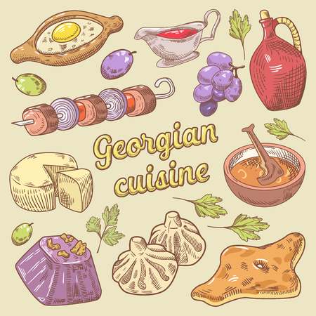 Georgian Cuisine Traditional Food with Khinkali. Hand Drawn vector doodle