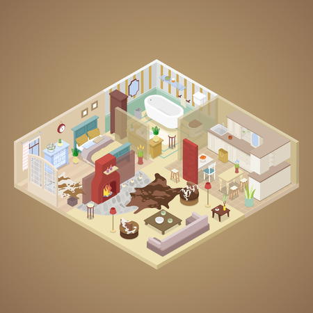 Rural House Interior Design with Living Room, Bedroom and Kitchen. Isometric vector flat 3d illustration