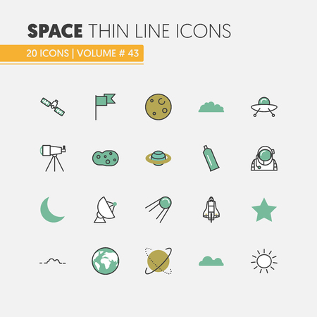 Space Research Linear Thin Line Vector Icons Set with Shuttle Astronaut and Planets