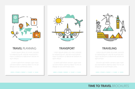 Travel Vacations Business Brochure Template with Linear Thin Line Vector Icons Ilustração
