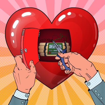 Womans Heart Bomb Disposal. Love Concept. Pop Art Vector illustration Illustration