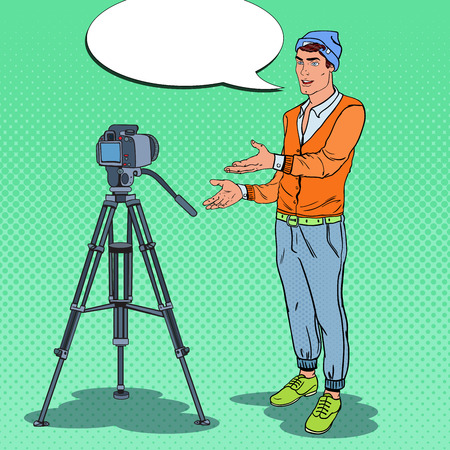 Stylish Guy Blogger Recording Video Vlog. Pop Art vector illustration Illustration