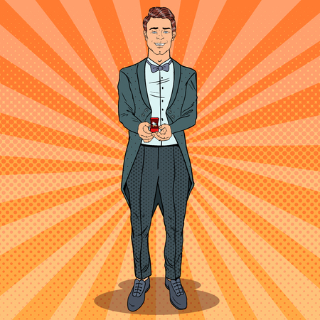Pop Art Handsome Man with Wedding Ring. Marriage Proposal. Vector retro illustration