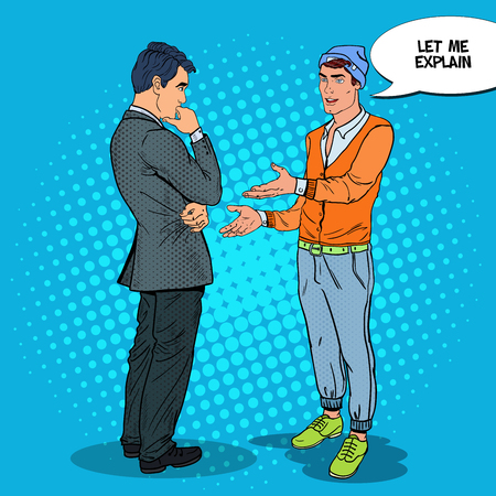 Stylish Teenager Talking with his Father. Pop Art vector illustration