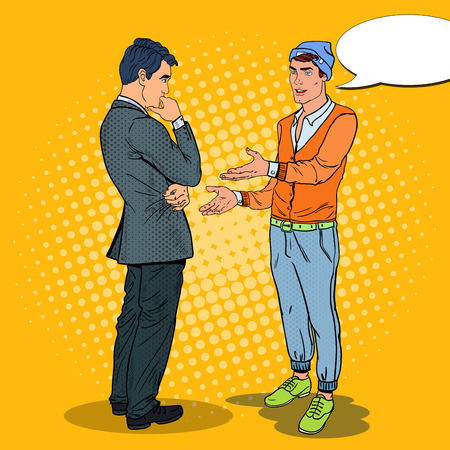 Young Man Talking with Businessman. Pop Art vector illustration