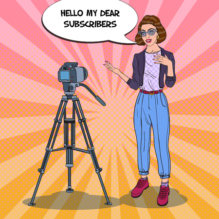 Young Woman Vlogger Recording Video. Pop Art vector illustration