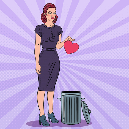 Unhappy Woman Throws Her Heart in the Trash. Unrequited Love. Pop Art Vector illustration