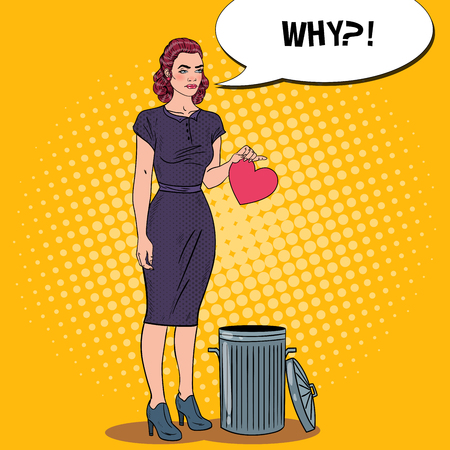 Unhappy Beautiful Woman Throws Her Heart in the Trash. Breakup. Pop Art Vector illustration