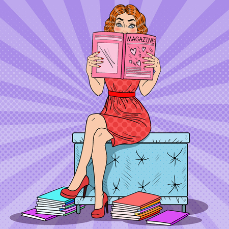 Young Pretty Woman Reading Fashion Magazine. Pop Art vector illustration