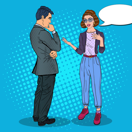 business meeting: Young Woman Talking with Man. Business Meeting. Pop Art vector illustration