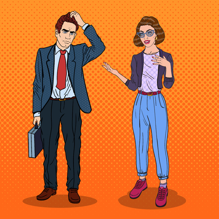 Woman Talking with Businessman. Business Meeting. Pop Art vector illustration