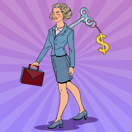 Bedrijfs Vrouw met de Sleutel van het Dollarteken op haar terug. Werkautomatisering. Pop Art vectorillustratie