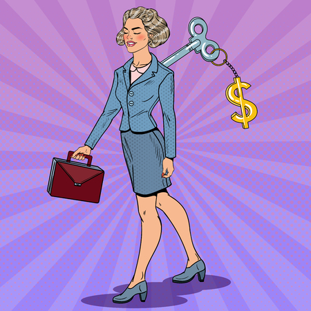 Business Woman with Dollar Sign Key on her Back. Work Automation. Pop Art vector illustration