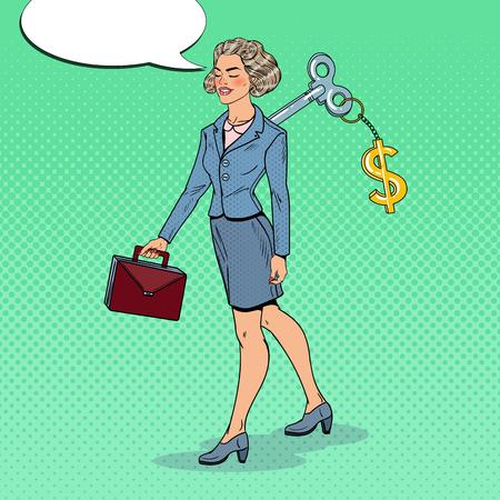 Mechanische Geschäftsfrau mit Dollarzeichen-Schlüssel auf ihr zurück. Arbeitsautomatisierung. Pop-Art-Vektor-Illustration