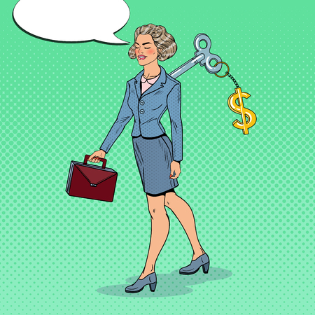 Mechanical Business Woman with Dollar Sign Key on her Back. Work Automation. Pop Art vector illustration Illustration