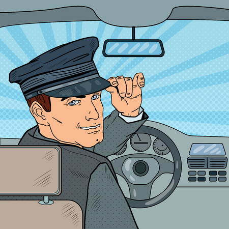 Limousine Driver Inside a Car. Chauffeur Saluting Passenger. Pop Art vector illustration