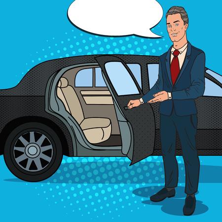 Driver Standing ner Black Limousine. Chauffeur of Luxury Car. Pop Art vector illustration