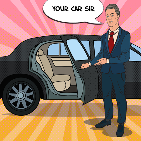 ドライバー立って ner 黒のリムジン。プレミアム車の運転手。ポップアートのベクトル図